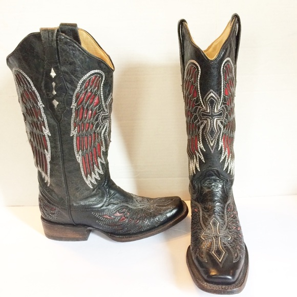 1d21f649606 Corral Distressed Cross & Wing Inlay Cowgirl Boots